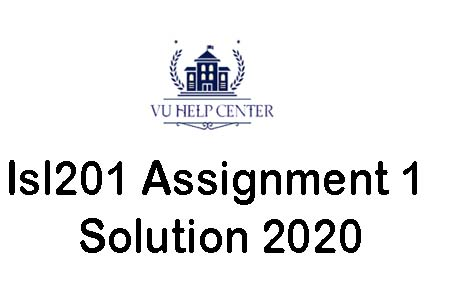 Isl201 Assignment 1 Solution 2020