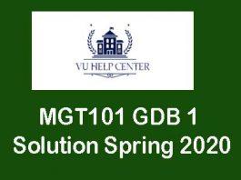 Mgt 101 GDB Solution Spring 2020