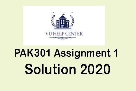 Pak301 Assignment 1 solution 2020