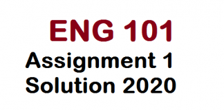 Eng101 Assignment 1 Solution 2020