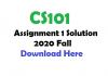 CS101 Assignment 1 Solution 2020 Fall
