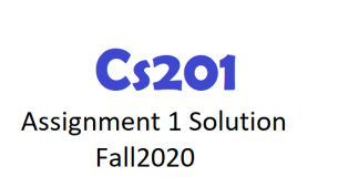 Cs201Assignment 1 Solution Fall2020