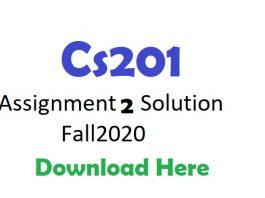 Cs201 Assignment 2 Solution Fall2020