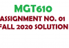 MGT610 ASSIGNMENT NO. 01 FALL 2020 SOLUTION